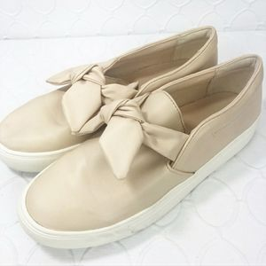 Zara Bow Leather Platform Slip on Sneakers Nude 39